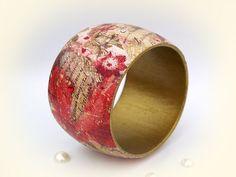 "Sale.Bangle Bracelet with Swarovski Crystals "" Vintage kitsch ""  / Collage Art technique Shabby chic wood Decoupage bracelet"