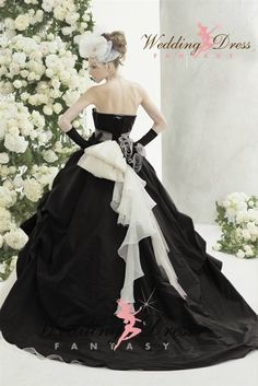 Wedding Dress Fantasy - Black and White Wedding Gown Available in Every Color, $945.00 (http://www.weddingdressfantasy.com/black-and-white-wedding-gown-available-in-every-color/)