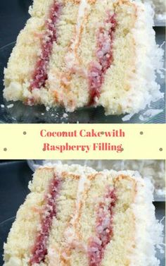 Coconut Cake with Raspberry Filling Coconut cake with raspberry filling Frosting Recipes, Cake Recipes, Dessert Recipes, Just Desserts, Delicious Desserts, Yummy Food, Food Cakes, Cupcake Cakes, Vanille Cupcakes