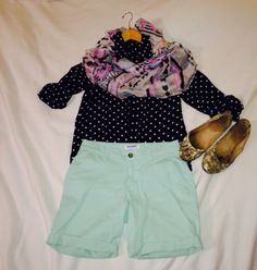 Polka dot shirt with mint shorts shirt is 19.90...with Aztec scarf at 6.16