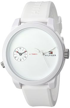 Men's Wrist Watches - Tommy Hilfiger Mens Denim Quartz Plastic and Rubber Automatic Watch ColorWhite Model 1791324 ** You can get additional details at the image link.