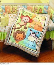 Crib Bedding Set Jungle Zoo 4 Piece Monkeys Giraffes Zebras Lions Comforter Baby