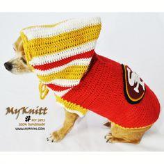 SF49ERS San Francisco 49ERS Football Team Dog Jerseys Hoodie handmade crocheted by Myknitt Designer Dog Clothes. #SF49ERS #NFL #AFL #SUPERBOWL #Football #Dogs #Pets #Chihuahua #handmade #crochet #DIY