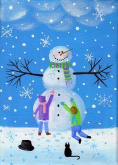 d5e5e13b49e91 Este 7 x 5 imprimir desde mi pintura original Frosty está impreso en ácido  libre