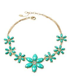 Turquoise & Goldtone Janie Necklace by Amrita Singh