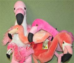 PINK FLAMINGO Plush Lot FAO Schwarz WILD REPUBLIC Aurora BABW Dan Dee BIRDS Toys #Assorted