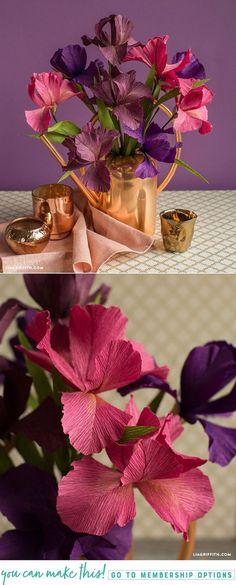 Crepe Paper Iris with SVG Cut File - www.liagriffith.com #diyinspiration #diyidea #diyideas #cricutmaker #cricutmade #svgfiles #diyproject #diyprojects #crepepaperrevival #crepepaperflowers #paperflower #paperflowers #madewithlia #cricutmaker #cricutmade