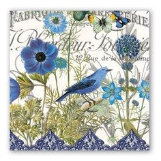 Michel Design Dining Party Home Decor Paper Napkins – Blue Bird