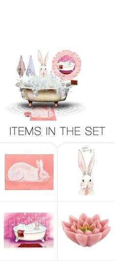 """""""blushing bunnies challenge"""" by jennifer ❤ liked on Polyvore featuring art"""