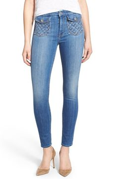 7 For All Mankind® Lattice Pocket Crop Skinny Jeans (Authentic Washed Indigo)