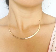 $70 Gold Curved Bar Necklace  Collar Necklace  by GoldCrushJewelry