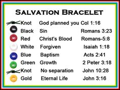 A scriptures card to correlate with each color bead on a Salvation Bracelet.