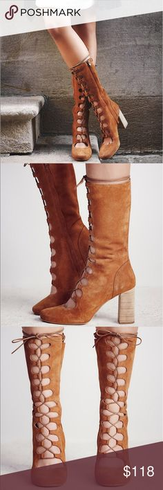 """New Free People Carly Lace Up Boot Lace-up boots featuring a classic silhouette with a rounded toe and stacked heel. Hidden side zip for an easy on/off. Euro 39  Black and Tan: Suede Snake: Leather Import Heel Height: 3.5"""" = 8.89 cm Shaft Height: 10.5"""" = 26.67 cm Free People Shoes Heeled Boots"""