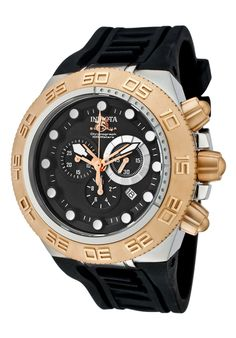 Invicta Men's Subaqua Chronograph Black Dial 18K Rose Gold Plated SS Bezel Black Silicon - Watch 1532,    #Invicta,    #1532,    #WatchesChronographQuartz