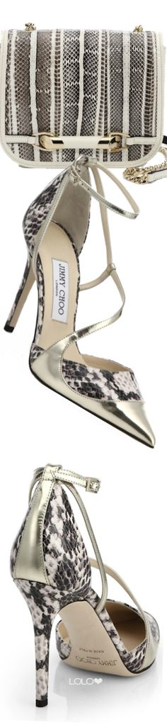 Jimmy Choo Zadie Mini Snakeskin Crossbody Bag and Jimmy Choo Mutya Two-Tone Leather Strappy Pumps Cute Shoes, Me Too Shoes, Chic Chic, Louboutin, Jimmy Choo Shoes, Shoe Closet, Beautiful Shoes, Miu Miu, Designer Shoes