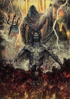 Em cima Zeus deus dos céus e relampagos no meio Posseidon deus das águas e das criaturas marinhas em baixo hades deus das profundezas do sub mundo e dos mortos.