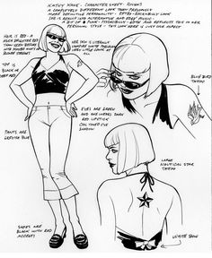 Kate Kane - character sheet, by J.H. Williams III  I love the notes on her taste in music and how it reflects her updated/current look in terms of civilian wear, especially since I often find myself...