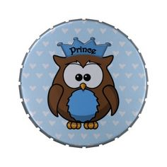 Prince owl tin box or jar for a baby shower.