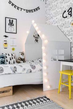 black, white, gray and yellow kids room