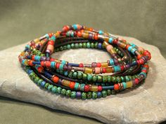 Beaded Bohemian Bracelet - Wrap Bracelet - Multi Strand Necklace - Southwest Jewelry - Native Tribal Jewelry