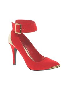 ALL RED SHOES ARE BEAUTIFUL!  New Look Osbourne Red Thick Strap Pointed Heeled Shoes