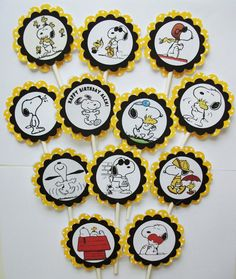 Snoopy themed cupcake toppers  1 Dozen by EATchocolate2012 on Etsy, $9.00