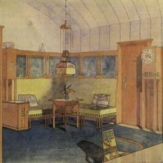Eliel Saarinen, interior illustration, 1902