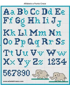 Have you decided to cross-stitch the school apron for your child? Did you find a cross-stitch alphabet pattern? If you are looking for an embroidery pattern with simple cross stitch letters, I suggest you to register now at www. Crochet Alphabet, Crochet Letters, Cross Stitch Alphabet Patterns, Cross Stitch Letters, Cross Stitch Designs, Alphabet Charts, Needlepoint Patterns, Alphabet Letters, Cross Stitching