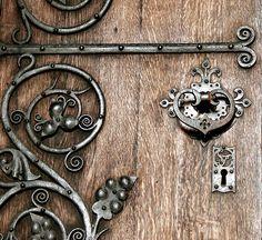 old wood door and iron details