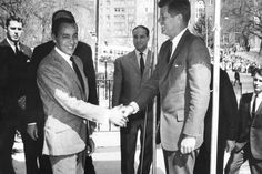 King Hassan of Morocco is greeted by President John F. Kennedy in Washington, DC.