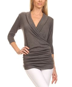 9d2f48aff47419 J-Mode USA Los Angeles Charcoal Ruched Surplice Top