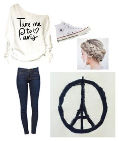 """ᑭᖇᗩY ᖴO ᑭᗩIᖇᔕ"" by sampop ❤ liked on Polyvore featuring Honour, Frame Denim and Converse"