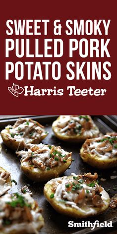 A game day classic with a sweet and smokey twist. Try these Pulled Pork Potato Skins at your next tailgate. Potato Skins Appetizer, Potato Appetizers, Great Appetizers, Homemade Potato Skins, Unique Recipes, Ethnic Recipes, Pulled Pork, Tarts, Low Carb Recipes