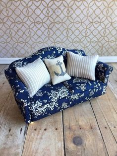 Blue Dollhouse Sofa Miniature Couch Dollhouse Furniture Crochet Barbie Patterns, Floral Couch, Miniature Dollhouse Furniture, Small Blankets, Cute Pillows, Sofa Set, Painted Furniture, Upholstery, Barbie Furniture