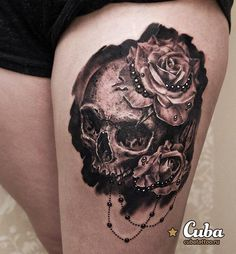 Skull with rose tattoo - 100 Awesome Skull Tattoo Designs