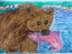 Original One Off Watercolour of Brown Bear with Salmon