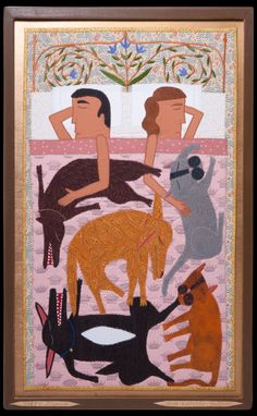 Established in Antieau Gallery showcases the work of internationally recognized fabric-appliqué artist Chris Roberts-Antieau. Chris Roberts, Funky Art, Textiles, Naive Art, Outsider Art, Applique Quilts, Fabric Art, Dog Art, Textile Art
