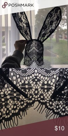 Lace bunny ears mask Used once. This is a mask/headbands. It's long enough to cover you eyes. Great for masquerades/parties. Men's mask free with purchase, I only have one so first come first serve. Please check my other listing and lmk if you want it or not. :) Accessories Hair Accessories