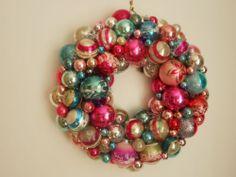 Vintage Christmas Ornament Wreath Pink Silver Aqua Shiny Brite Polish German | eBay
