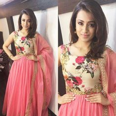 The ball of Positivity and prettiness in Pink today for the promotions of Actress Trisha Krishnan in one of my Favourite labels ~… Salwar Designs, Blouse Designs, Indian Attire, Indian Wear, Indian Dresses, Indian Outfits, Shadi Dresses, Anarkali Dress, Lehenga