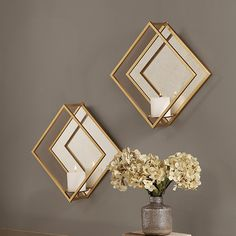 Gold Wall Decor, Diy Wall Decor, Gold Accent Decor, Gold Bedroom Decor, Gold Home Decor, Gold Accents, Antique Gold Mirror, Square Candles, Diamond Wall