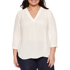 a.n.a 3/4 Sleeve V Neck Blouse-Plus ($22) ❤ liked on Polyvore featuring tops, blouses, 3/4 length sleeve tops, white 3 4 sleeve blouse, white v neck top, v-neck tops and three quarter sleeve tops