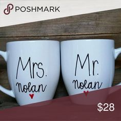 💍NEW YEARS SALE!! Mr and Mrs Personalized Mugs 14 OZ handpainted mug by me. Set of 2 The Laughing Llama Co Accessories