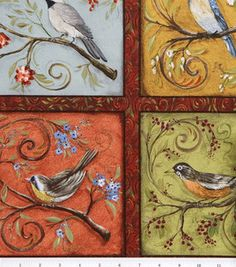 Legacy Studio Nestled In Branches Cotton Fabric Birds In Blocks: quilting fabric & kits: fabric: Shop   Joann.com
