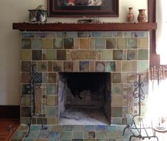 Custom tile and tile design in the Craftsman tradition. Fireplace Tile, Craftsman Fireplace, Bungalow Decor, Fireplace Design, Mission Style Homes, Craftsman House, Craftsman Tile, Fireplace Surrounds, Fireplace