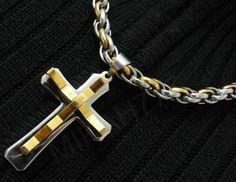Conjunto Masculino em Aço Inox Corrente Cordão 10mm com pingente Crucifixo