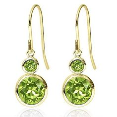 Promise Rings Simple | 204 Ct Round Natural Green Peridot 14K Yellow Gold Womens Earrings *** Learn more by visiting the image link. Note:It is Affiliate Link to Amazon. #PromiseRingsForHer