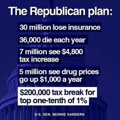 Obamacare Repeal = $7 Million Tax Cut for Nation's Richest 400 People     Released Thursday by the Center on Budget and Policy Priorities (CBPP), the publication shows that the repeal would give to each of the top 400 highest-income taxpayers—who averaged incomes of roughly $318 million in 2014—a tax cut of about $7 million a year.  http://www.commondreams.org/news/2017/01/13/obamacare-repeal-7-million-tax-cut-nations-richest-400-people