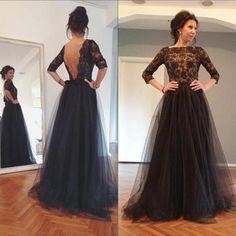 Prom Dresses,Black Tulle Prom Dress,Prom Dresses with Sleeves,Backless Prom Dress, Prom Dresses Long,Prom Dresses with Appliques,Black Evening Dresses
