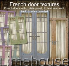Rustic oak french doors with a worn paint look and a pretty curtain panel, 21 textures, including front and back and the sides for each colour door. Cream Curtains, Panel Curtains, Old French Doors, Door Texture, French Door Curtains, Rustic French, Pastel Shades, Bedroom Doors, Door Signs